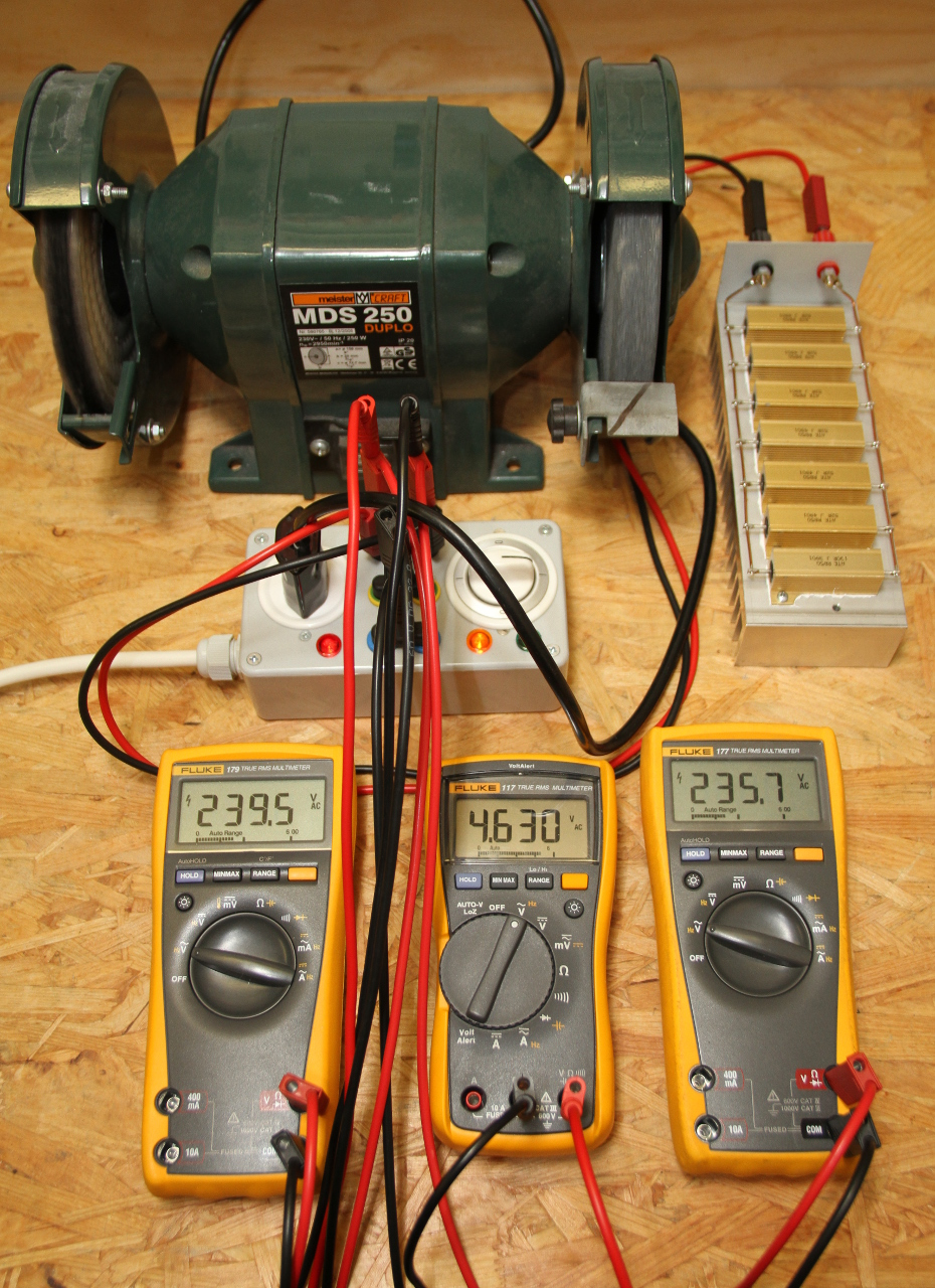 Measuring The Power Factor With Three Voltmeters Method 100 V Motor Wiring Diagram A Bench Grinder Being Measured Multimeters Show