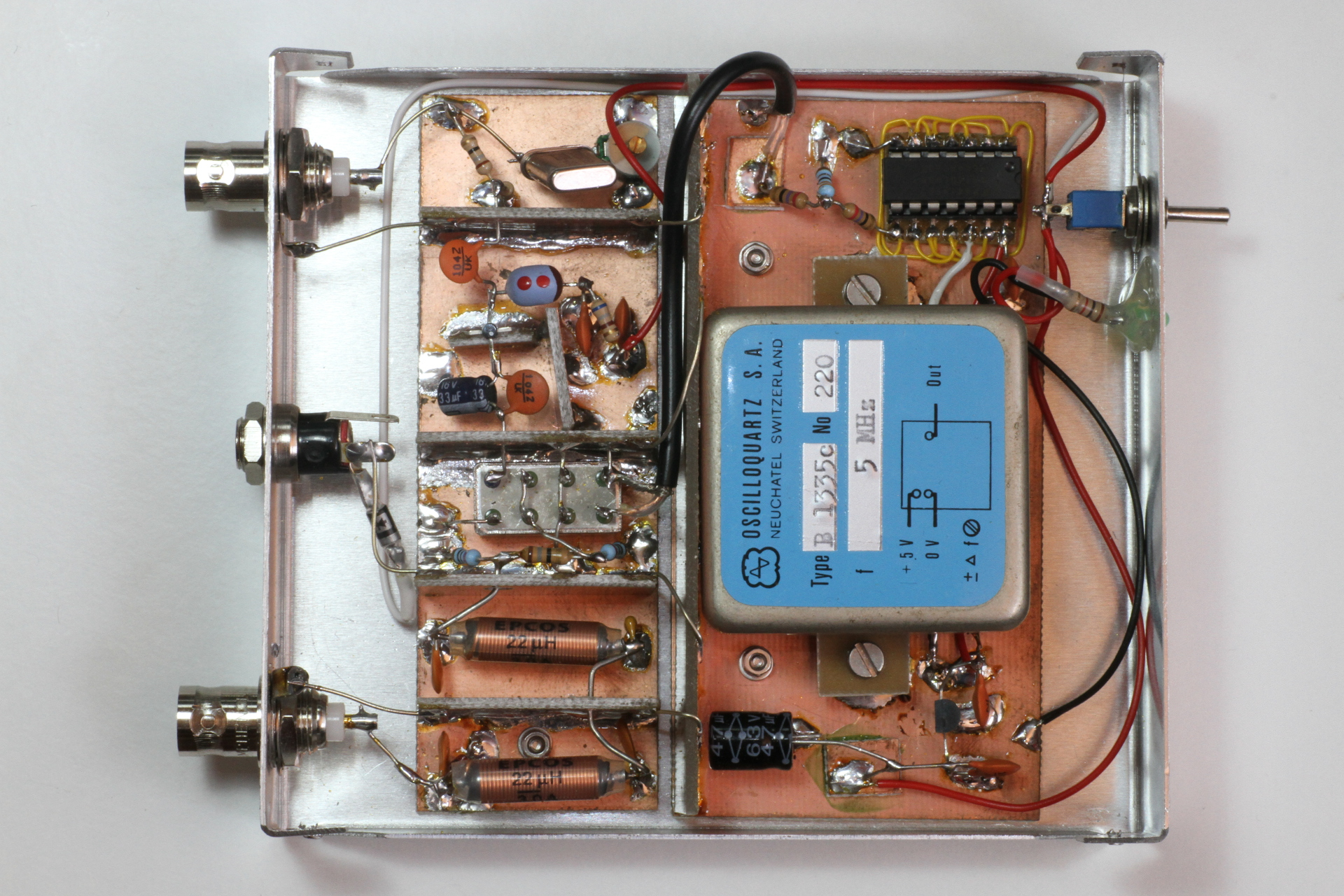An Up Converter For Receiving Long And Very Waves 5mhz Notch Filter Circuit Diagram Electronic Diagrams Top View Of The Finished Click To Enlarge